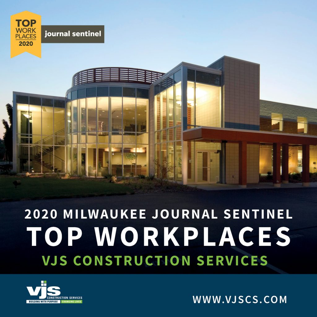 VJS Construction Services Receives a 2020 Top Workplaces Award from The Milwaukee Journal Sentinel 1