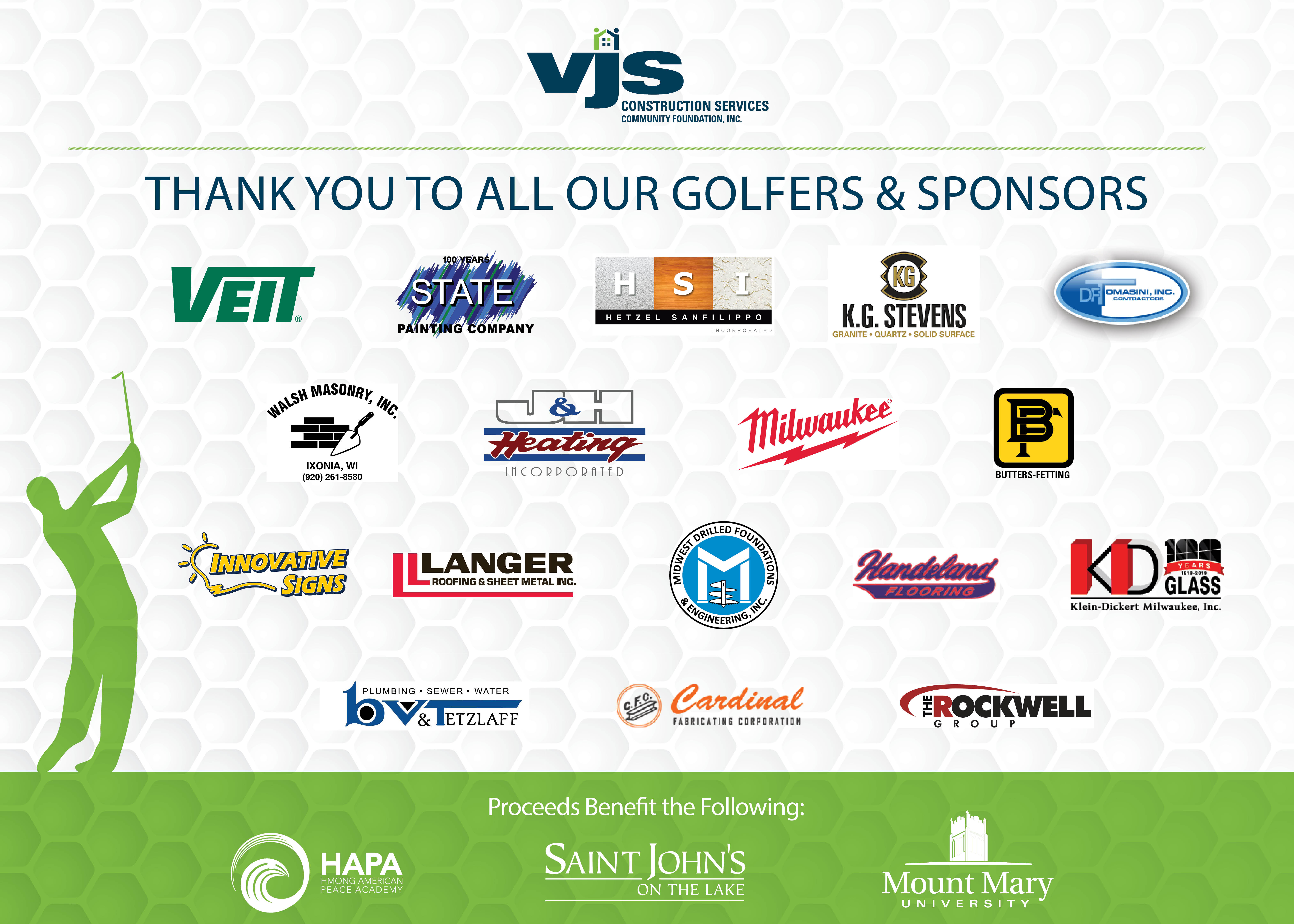 VJS Donates Proceeds from 4th Annual Golf Outing to Three Non-Profit Organizations 4